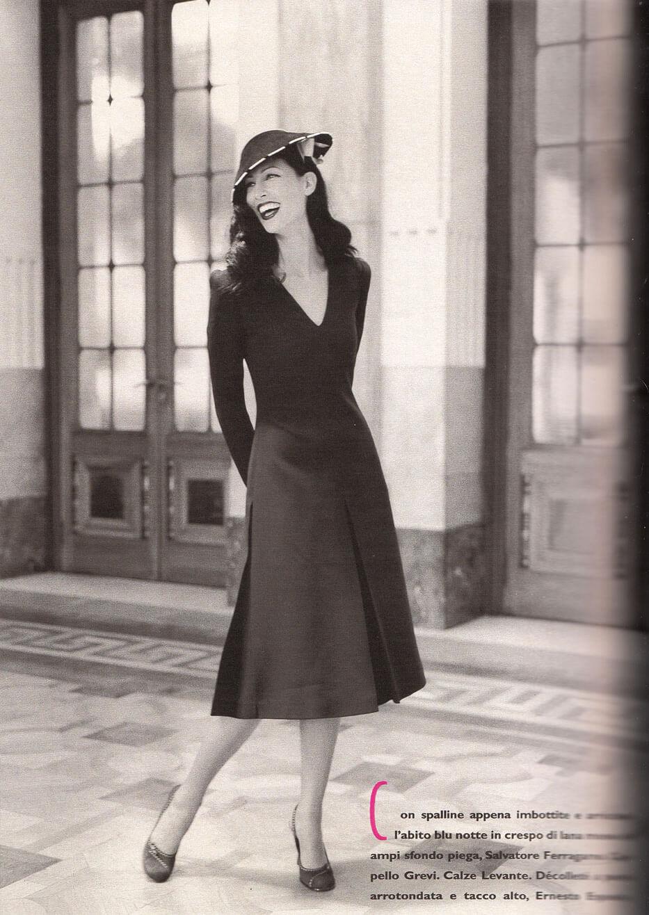 Gioia magazine cappello Grevi abito Salvatore Ferragamo ottobre 2000