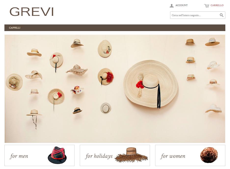 apertura shop online grevi cappelli fatti a mano